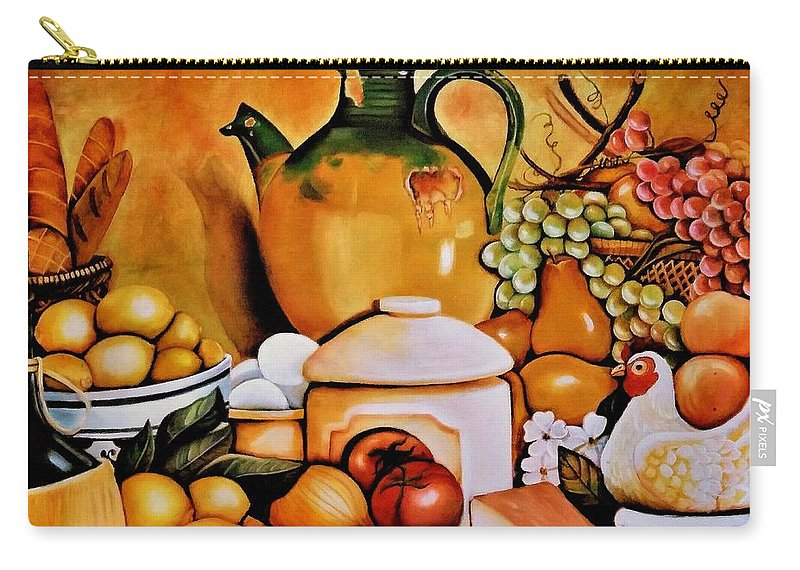 Still Life Carry-all Pouch featuring the painting Mom's Kitchen by Dalgis Edelson