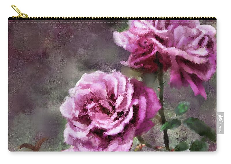 Digital Painting Carry-all Pouch featuring the digital art Moms Roses by Susan Kinney
