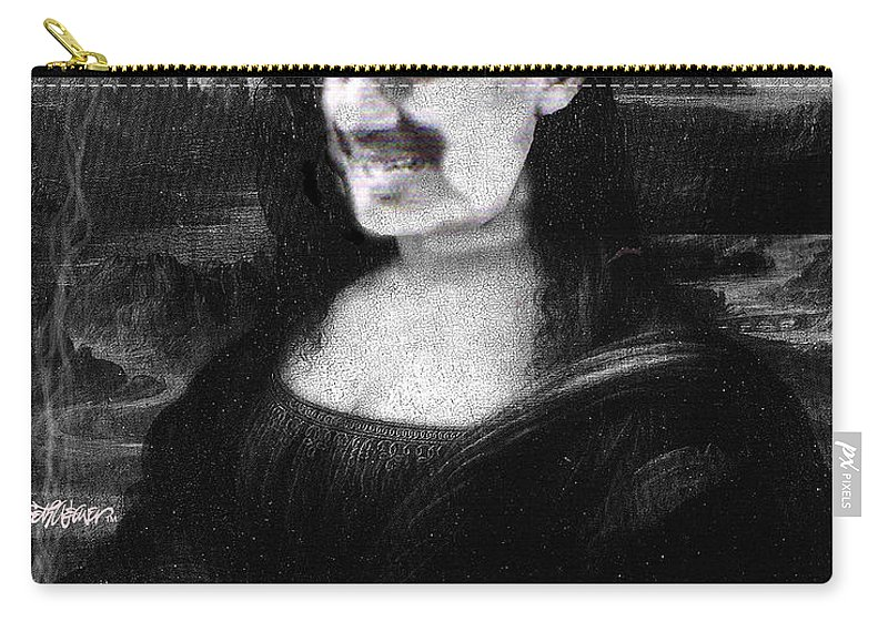 Mona Lisa Carry-all Pouch featuring the digital art Mona Grouchironi by Seth Weaver