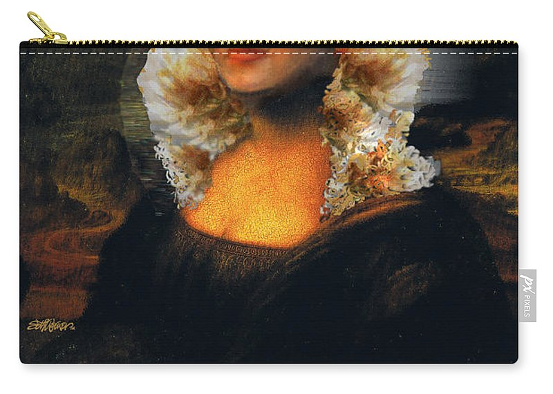 Mona Lisa Carry-all Pouch featuring the digital art Mona Marilyn by Seth Weaver