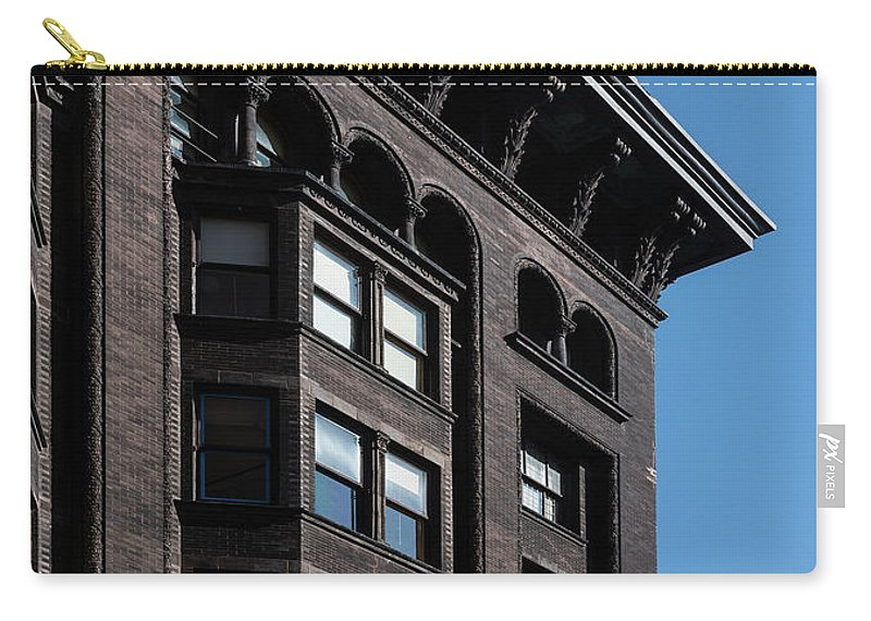 Monadnock Carry-all Pouch featuring the photograph Monadnock Building Cornice Chicago B W by Steve Gadomski