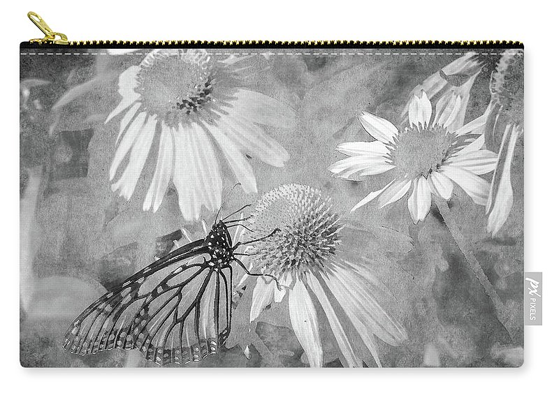Monarch Carry-all Pouch featuring the digital art Monarch Butterfly In Black And White by David Stasiak