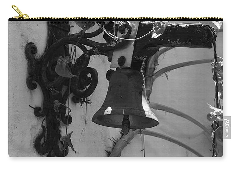 Black And White Carry-all Pouch featuring the photograph Monastery Bell by Rob Hans