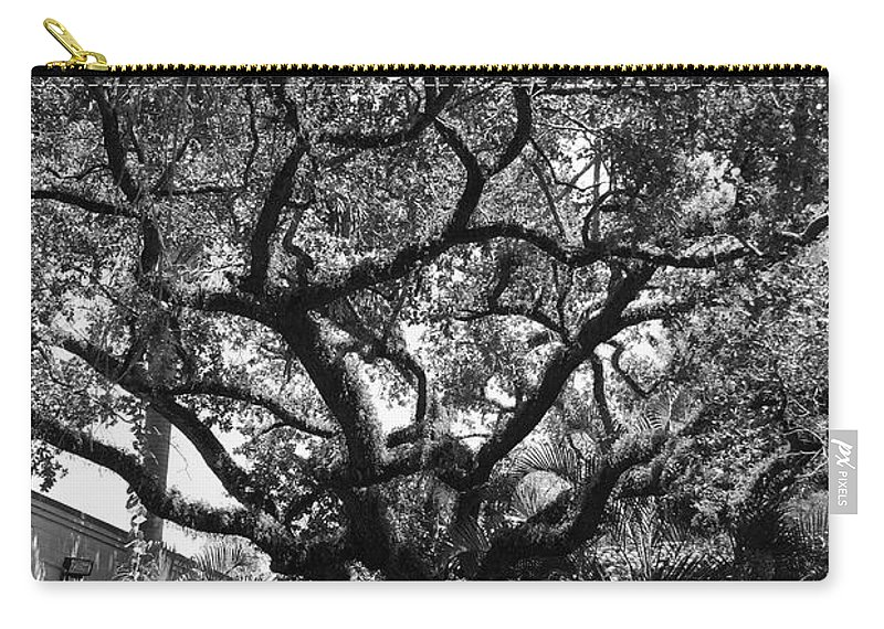 Black And White Carry-all Pouch featuring the photograph Monastery Tree by Rob Hans