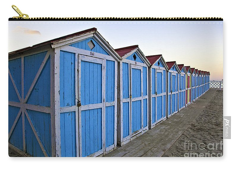 Mondello Carry-all Pouch featuring the photograph Mondello Beach Cabanas by Madeline Ellis