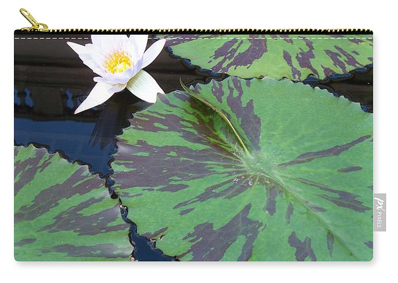 Photograph Carry-all Pouch featuring the photograph Monet Lilies White by Eric Schiabor