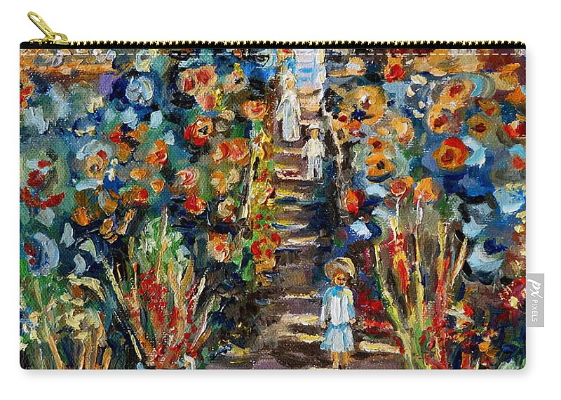 Monet Carry-all Pouch featuring the painting Monets Flower Garden by Carole Spandau
