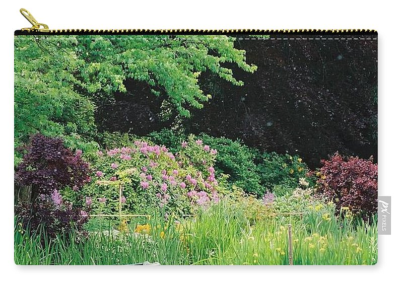 Monet Carry-all Pouch featuring the photograph Monet's Garden Pond And Boat by Nadine Rippelmeyer