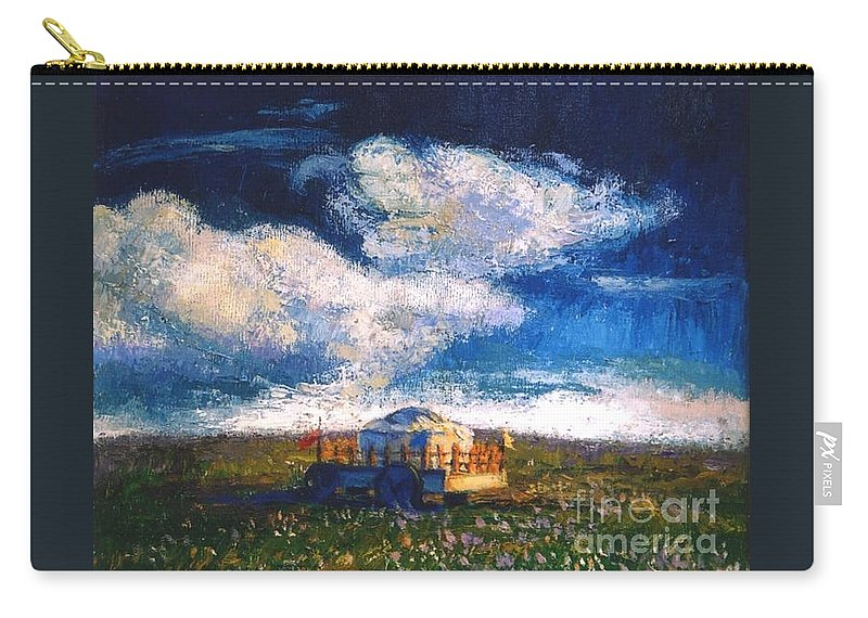 Momgolian Carry-all Pouch featuring the painting Mongolian Home by Meihua Lu