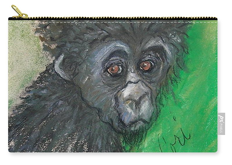 Monkey Carry-all Pouch featuring the drawing Monkey Business by Cori Solomon