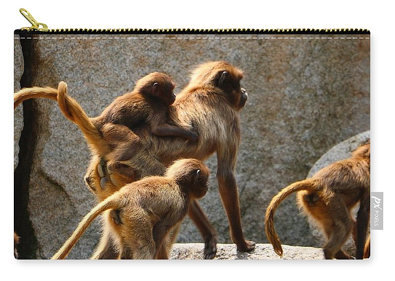 Animal Carry-all Pouch featuring the photograph Monkey Family by Dennis Maier