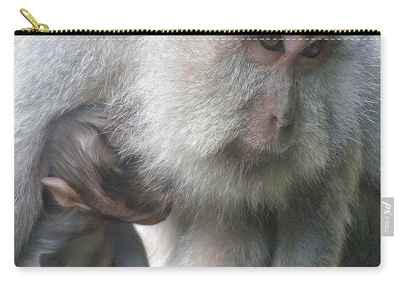 Bali Carry-all Pouch featuring the photograph Monkey Mother 3 by Mark Sellers