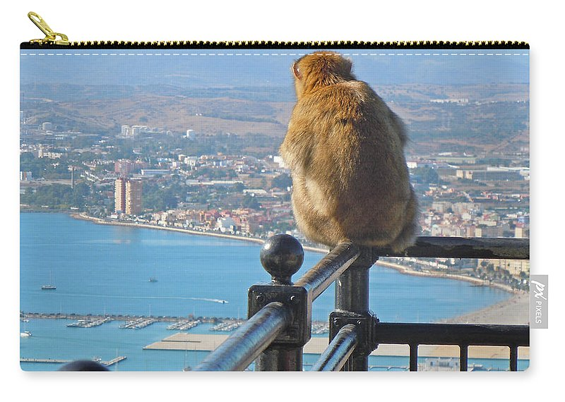 Europe Carry-all Pouch featuring the photograph Monkey Overlooking Spain by Heather Coen