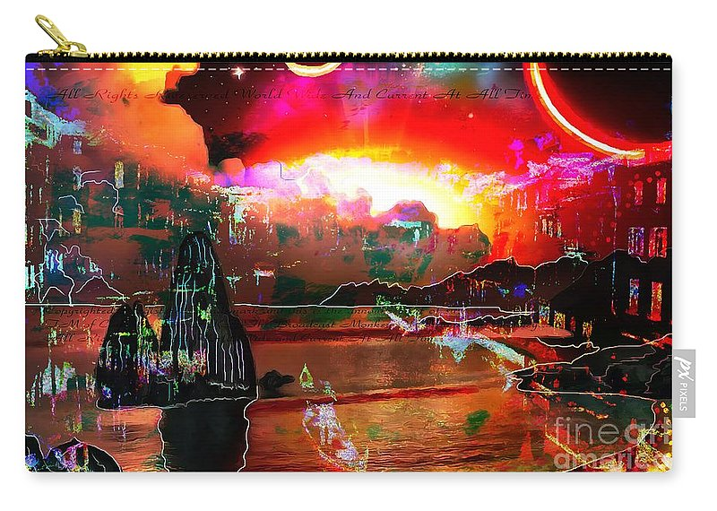 Www.nospankingthemonkey.com Monkey Painted Italy On A Moon Lit Night Carry-all Pouch featuring the painting www.nospankingthemonkey.com Monkey Painted Italy On A Moon Lit Night by Catherine Lott