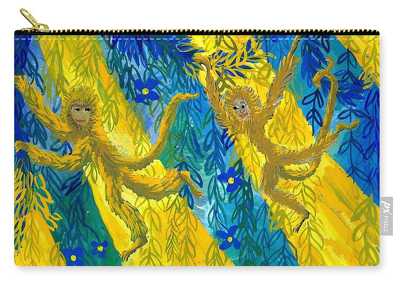 Monkeys Carry-all Pouch featuring the painting Monkeys And Sunbeams by Sushila Burgess