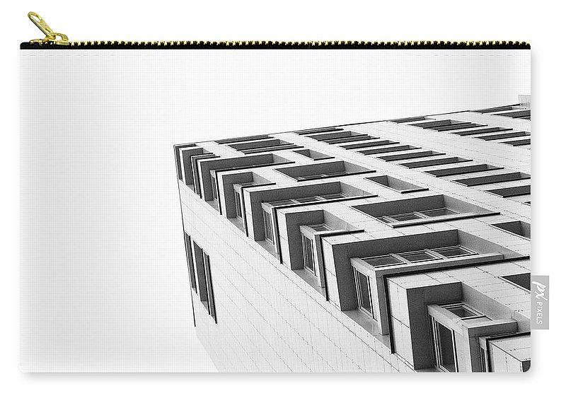 Monochrome Carry-all Pouch featuring the photograph Monochrome Building Abstract 4 by John Williams