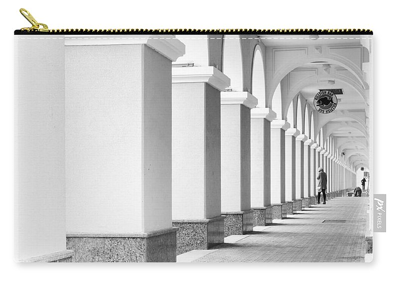 Monochrome Carry-all Pouch featuring the photograph Monochrome Building Abstract 6 by John Williams
