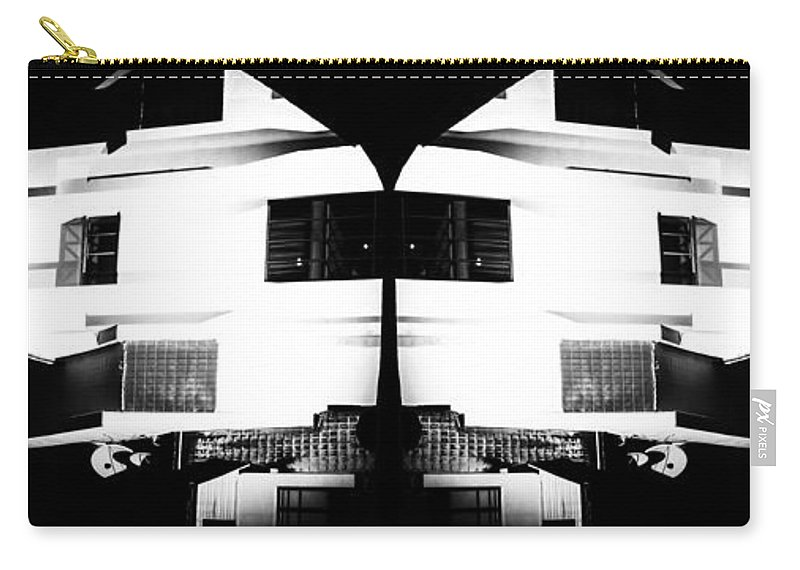 Building Carry-all Pouch featuring the photograph Monochrome Building Symmetry Abstract by John Williams