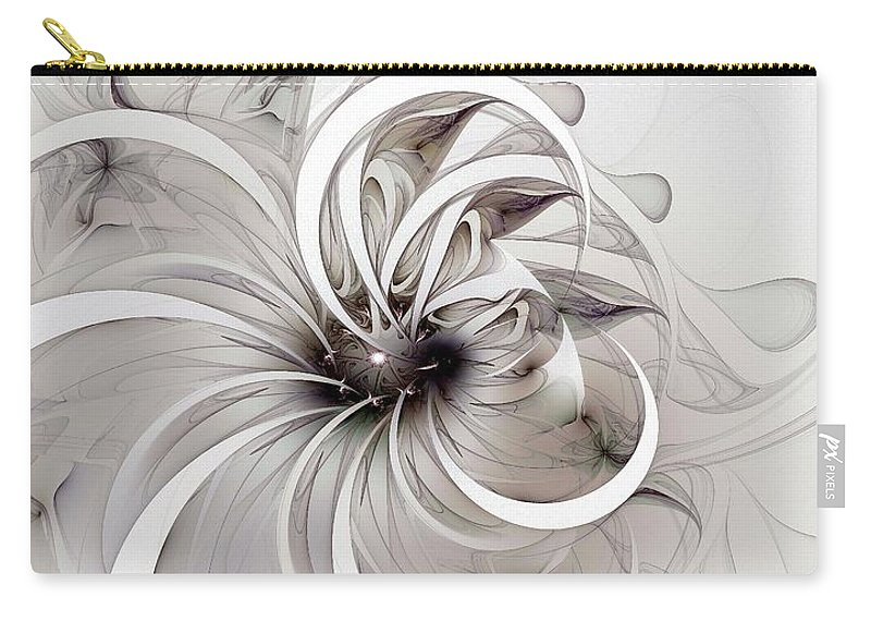 Digital Art Carry-all Pouch featuring the digital art Monochrome Flower by Amanda Moore