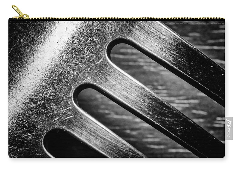 Monochrome Carry-all Pouch featuring the photograph Monochrome Kitchen Fork Abstract by John Williams