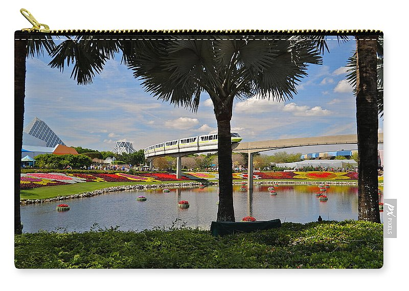 Epcot Carry-all Pouch featuring the photograph Monorail At Epcot by Denise Mazzocco