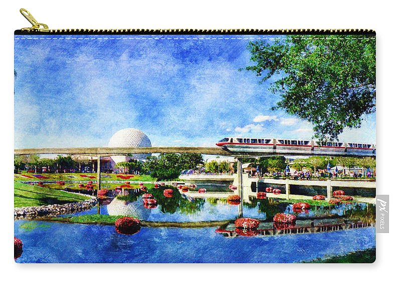 Epcot Carry-all Pouch featuring the digital art Monorail Red - Coming 'Round the Bend by Sandy MacGowan