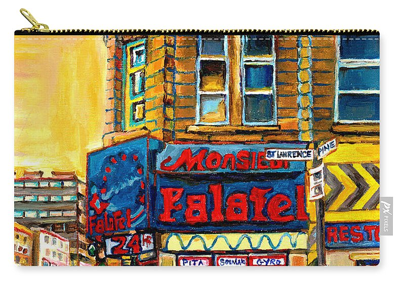 Montreal Carry-all Pouch featuring the painting Monsieur Falafel by Carole Spandau