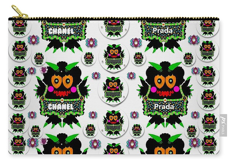 Monster Carry-all Pouch featuring the mixed media Monster Trolls In Fashion Shorts Chanel Versa Prada by Pepita Selles
