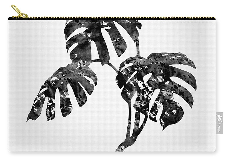 Monstera Leaf Carry-all Pouch featuring the digital art Monstera Leaf-black by Erzebet S