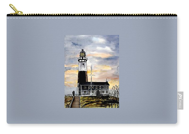 Montauk Point Carry-all Pouch featuring the painting Montauk Point Lighthouse by Derek Mccrea