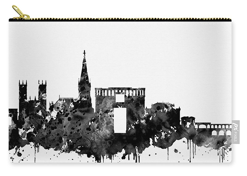 Montpellier Skyline Carry-all Pouch featuring the digital art Montpellier Skyline-black by Erzebet S