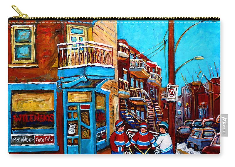 Montreal Carry-all Pouch featuring the painting Montreal City Scene Hockey At Wilenskys by Carole Spandau
