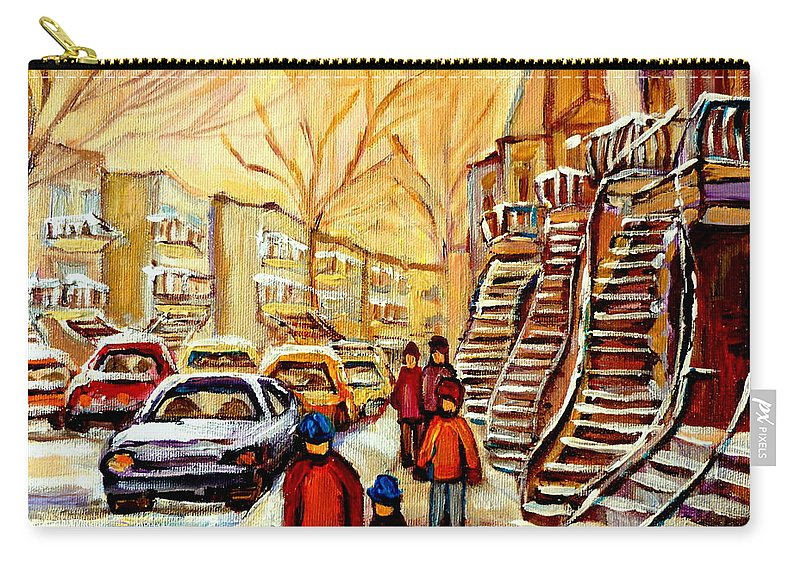 Montreal Carry-all Pouch featuring the painting Montreal City Scene In Winter by Carole Spandau