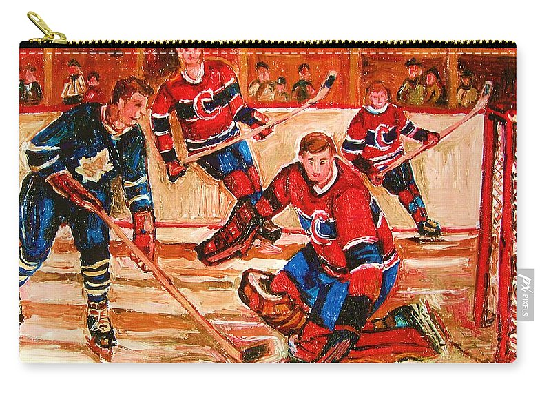 Montreal Forum Hockey Carry-all Pouch featuring the painting Montreal Forum Hockey Game by Carole Spandau