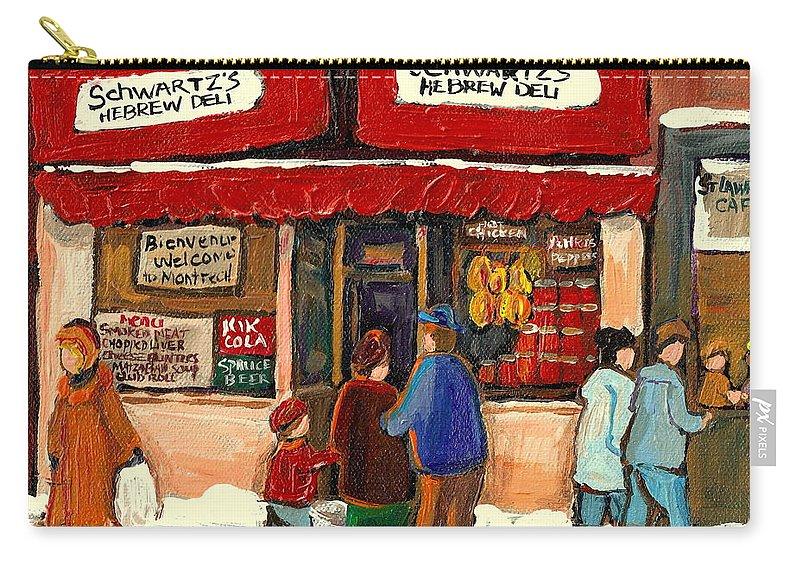 Montreal Hebrew Delicatessen Carry-all Pouch featuring the painting Montreal Hebrew Delicatessen Schwartzs By Montreal Streetscene Artist Carole Spandau by Carole Spandau