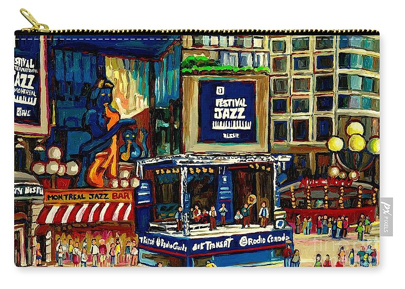 Montreal Carry-all Pouch featuring the painting Montreal Jazz Festival Arcade by Carole Spandau