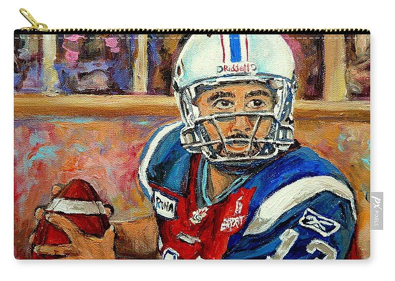 Anthony Calvillo Carry-all Pouch featuring the painting Montreal Je Me Souviens By Montreal Streetscene Artist Carole Spandau by Carole Spandau