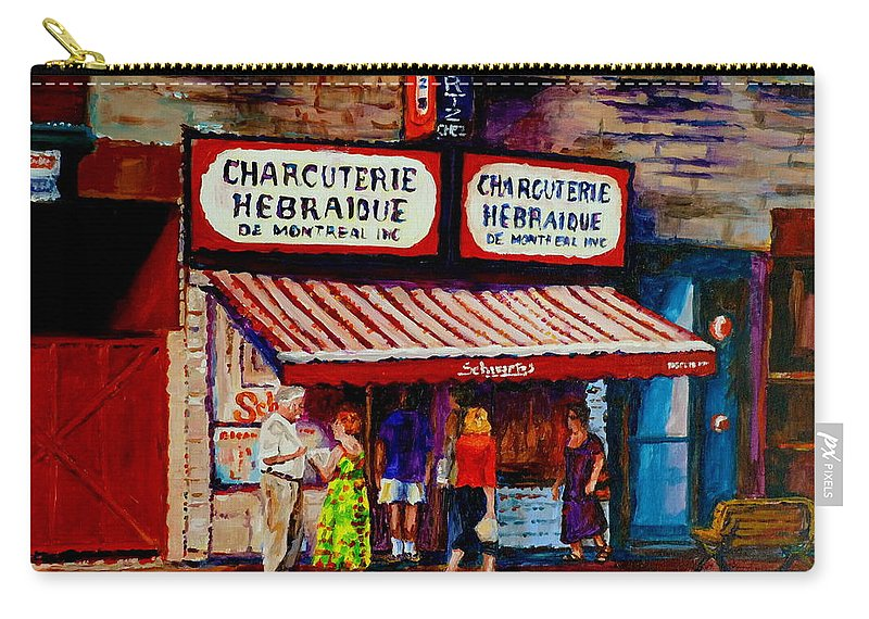 Streets Of Montreal Carry-all Pouch featuring the painting Montreal Paintings Available For Fundraisers By Streetscene Artist Carole Spandau by Carole Spandau