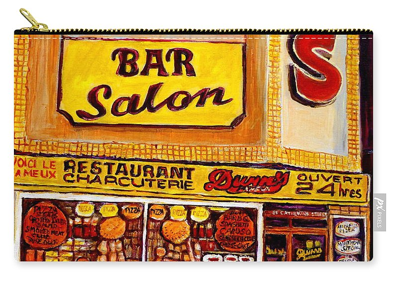 Dunns Carry-all Pouch featuring the painting Montreal Smoked Meat Dunns Restaurant by Carole Spandau