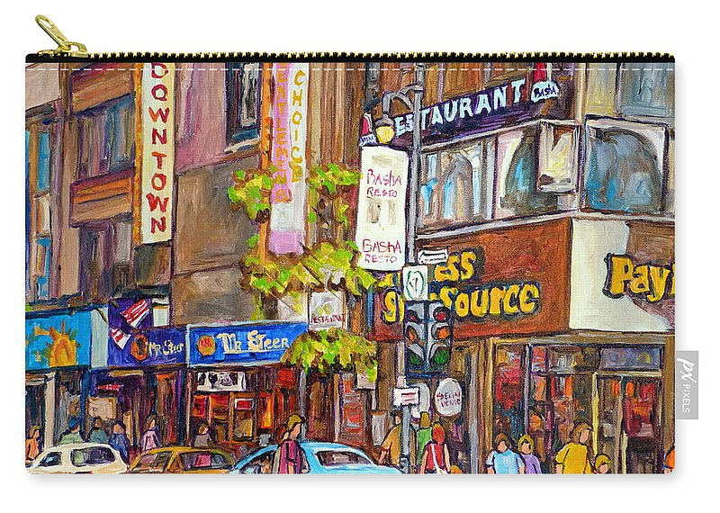 Montreal Carry-all Pouch featuring the painting Montreal St.catherine Street Corner Peel by Carole Spandau