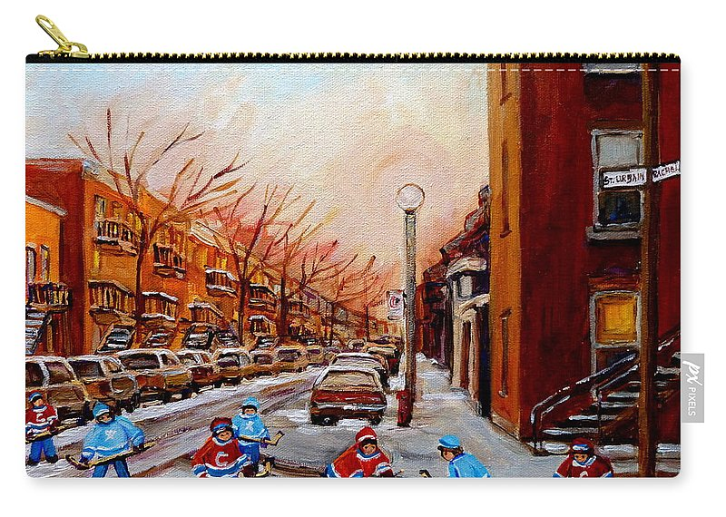 Montreal Streetscene Carry-all Pouch featuring the painting Montreal Street Hockey Game by Carole Spandau