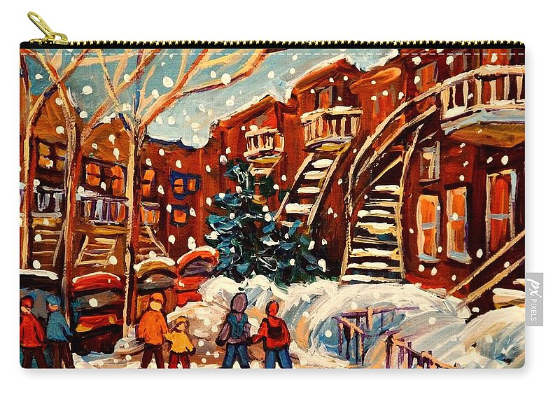Montreal Carry-all Pouch featuring the painting Montreal Street In Winter by Carole Spandau
