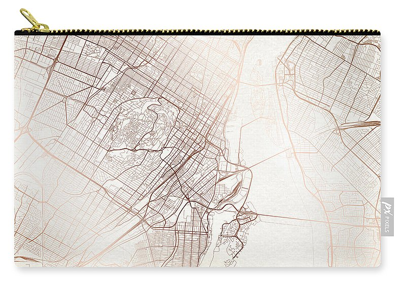 Map Carry-all Pouch featuring the digital art Montreal Street Map Colorful Copper Modern Minimalist by Jurq Studio