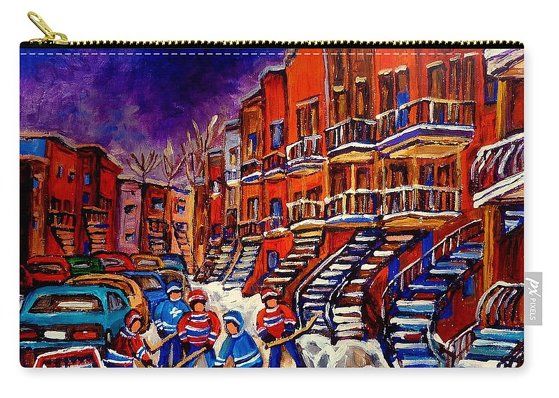 Montreal Carry-all Pouch featuring the painting Montreal Street Scene Paintings Hockey On De Bullion Street  by Carole Spandau