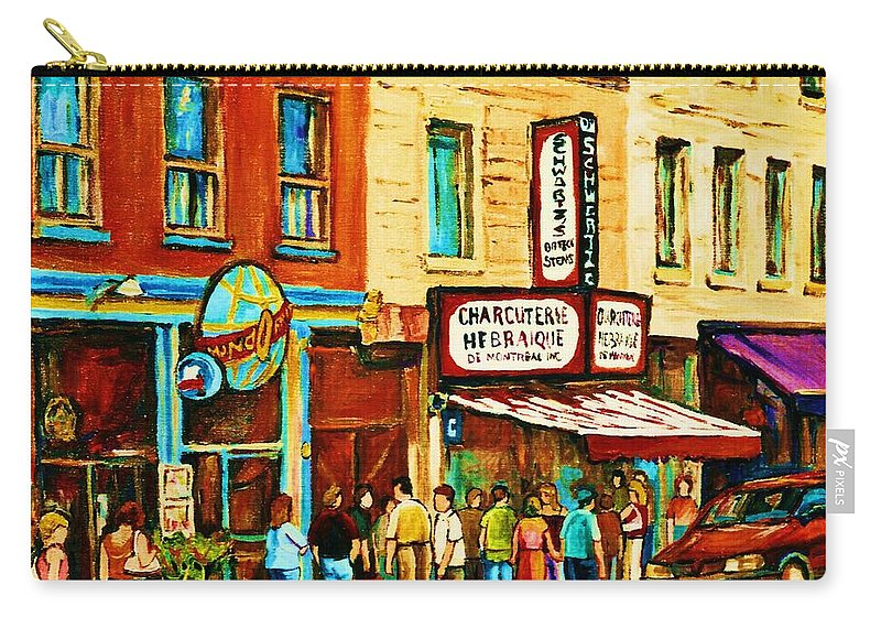 Montreal Carry-all Pouch featuring the painting Montreal Streetscene Artist Carole Spandau Paints Schwartzs Main Street Hustle Bustle by Carole Spandau