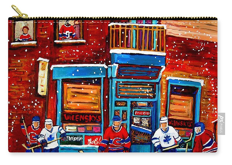 Montreal Carry-all Pouch featuring the painting Montreal Wilensky Deli By Carole Spandau Montreal Streetscene And Hockey Artist by Carole Spandau