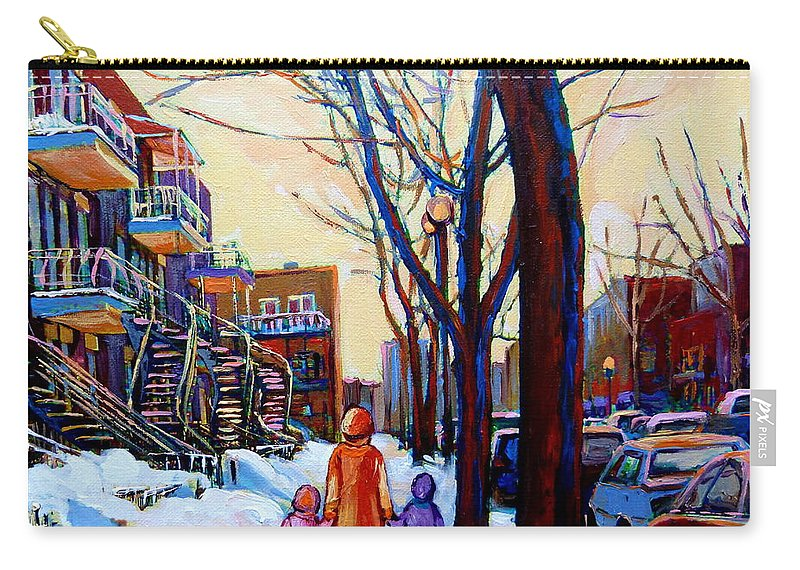 Montreal Carry-all Pouch featuring the painting Montreal Winter by Carole Spandau