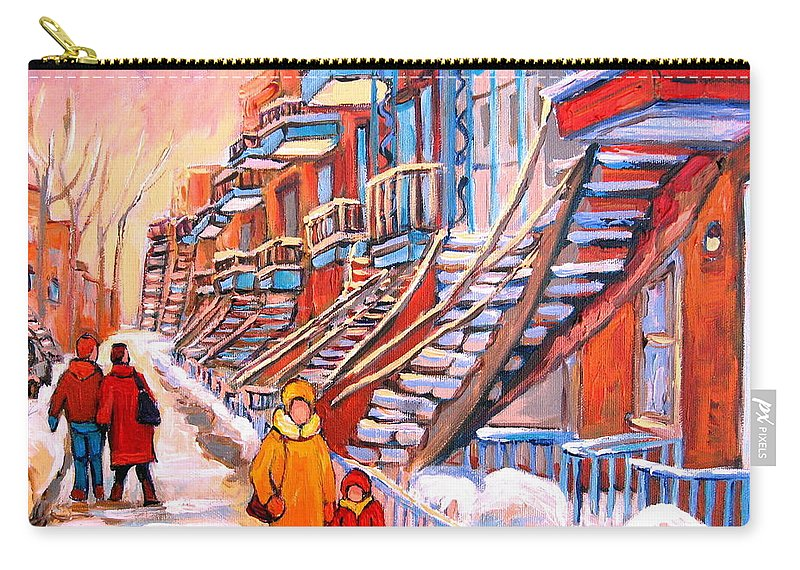 Montreal Carry-all Pouch featuring the painting Montreal Winter Walk by Carole Spandau