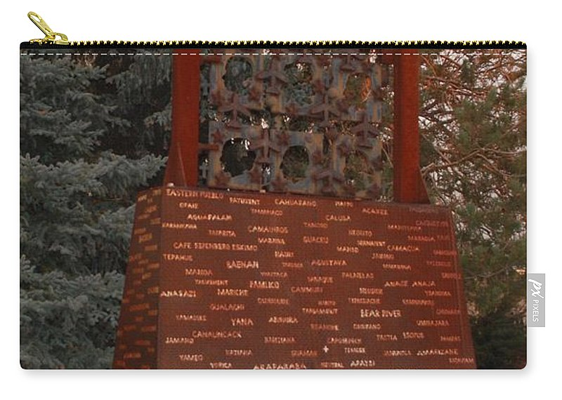Monument Carry-all Pouch featuring the photograph Monument At N M State Captial by Rob Hans