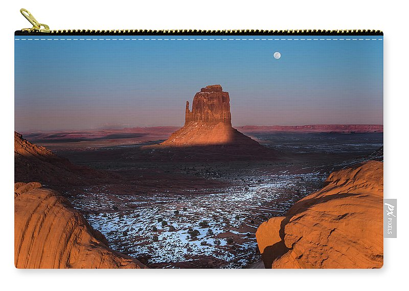 Utah Carry-all Pouch featuring the photograph Monument Valley by Larry Marshall